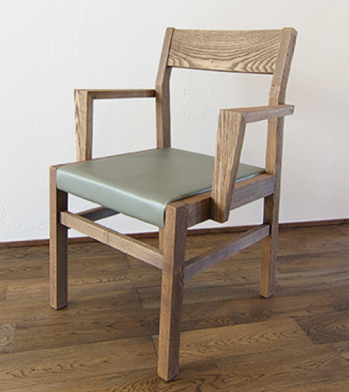 SQUARE CHAIR WOOD-ARM